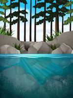 Un paesaggio naturale acquatico vettore