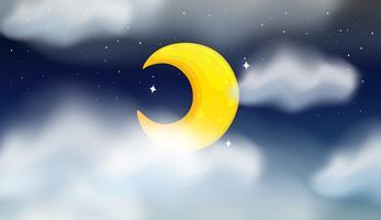 Scena notturna della luna cresente vettore