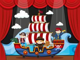 Bambini che giocano a pirati sul palco vettore