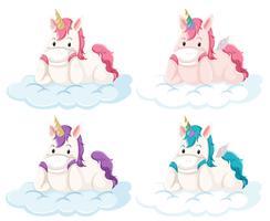 Set di unicorno su nuvola