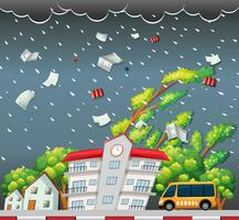 Grande scena di strada tempesta vettore