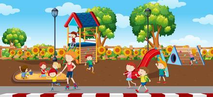 bambini nella scena di plaground vettore