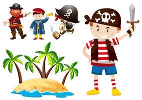 Pirata e troupe con scena dell'isola