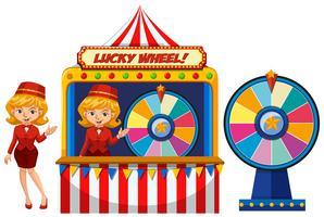 Una bella signora e Lucky Wheel vettore