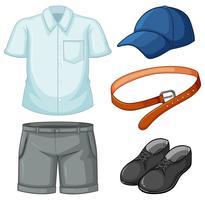 L'uniforme scolastica ha impostato su priorità bassa bianca vettore