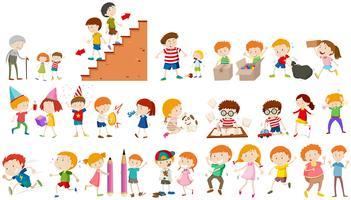 I bambini fanno diverse attività vettore