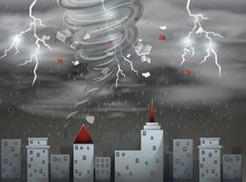 Città scape tornado e tempesta scena vettore
