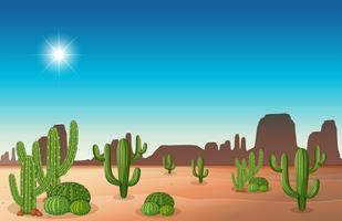 Scena del deserto con cactus vettore