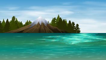 Scena di sfondo con lago e montagna