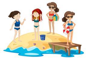 Vacanza della giovane donna alla spiaggia vettore