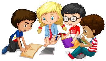 Gruppo di bambini che fanno i compiti vettore