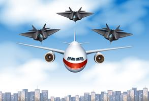 Un aereo commerciale e tre aerei da combattimento nel cielo vettore