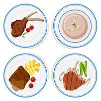 Quattro piatti di bistecche e zuppa