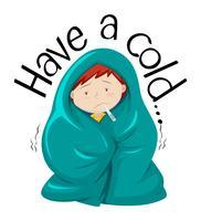 Design Flashcard per avere un raffreddore vettore