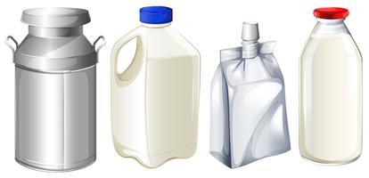 Contenitori di latte differenti vettore