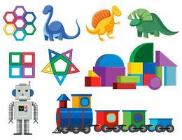 Un insieme di giocattoli per bambini colorati vettore