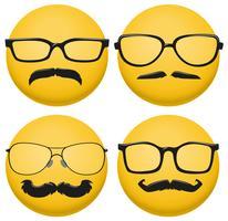Diversi stili di occhiali e baffi sulla palla gialla vettore