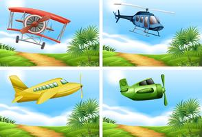 Scene con aeroplani nel cielo