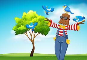 Spaventapasseri con scena di uccelli blu vettore