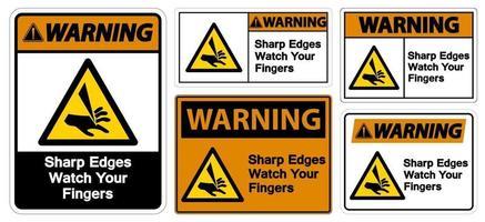 avvertimento spigoli vivi guarda le tue dita vettore