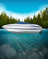 Un motoscafo nel lago vettore