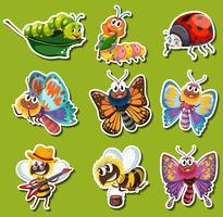 Disegno adesivo per diversi tipi di insetti vettore