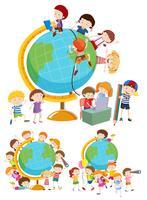 Set di bambini e globi vettore
