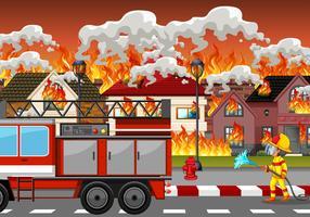 Disastro di fuoco al villaggio vettore