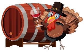 Tacchino del ringraziamento con bicchiere di vino vettore