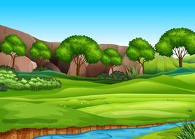 Un paesaggio verde vettore
