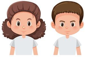 Set di carattere maschile e femminile brunetta