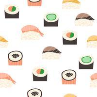 Modello senza cuciture con diversi tipi di sushi.
