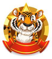 Disegno della bandiera con la tigre selvaggia
