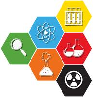 Simboli di scienza su sfondo esagono vettore