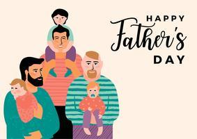 Buona festa del papà. Illustrazione vettoriale con uomini e bambini.