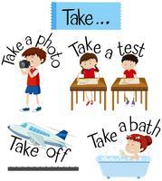 Vocabulary Card con parola Take vettore