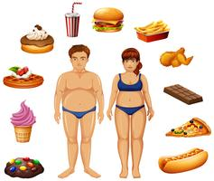 Persone in sovrappeso con cibo malsano