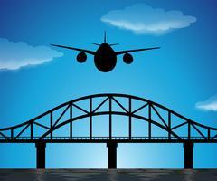 Scena della siluetta con l'aeroplano che vola in cielo blu vettore