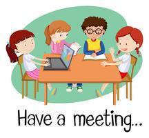Persone che hanno una riunione su sfondo bianco