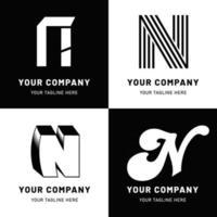 set logo lettera n in bianco e nero vettore