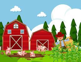 Scena dell'azienda agricola con maiali nel fango vettore