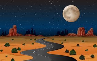 Strada del deserto dell'Arizona alla notte vettore