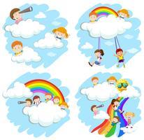 Bambini felici su soffici nuvole e arcobaleno vettore