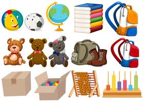 Diversi tipi di giocattoli e fermi