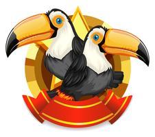 Banner design con due uccelli tucano