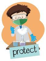 Wordcard per proteggere con il ragazzo che indossa gli elementi di protezione in laboratorio vettore