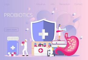 piccoli dottori danno batteri probiotici allo stomaco, lactobacillus. vettore
