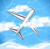 Volo dell'aeroplano in cielo blu vettore