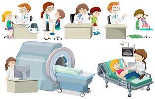 Un set di dottore e paziente vettore