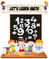 Studenti che imparano la matematica in classe vettore